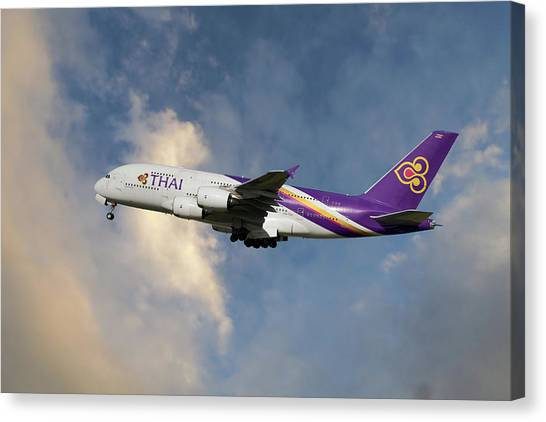 Airlines Canvas Print - Thai Airways Airbus A380-841 by Smart Aviation
