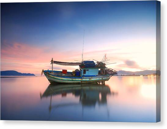 Thai Fishing Boat Canvas Print by Teerapat Pattanasoponpong