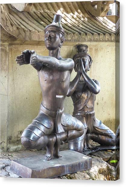 Thai Yoga Statues At Famous Wat Pho Temple Canvas Print