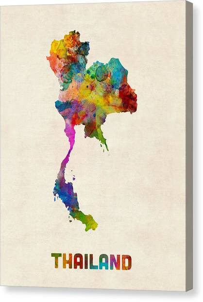Asia Canvas Print - Thailand Watercolor Map by Michael Tompsett