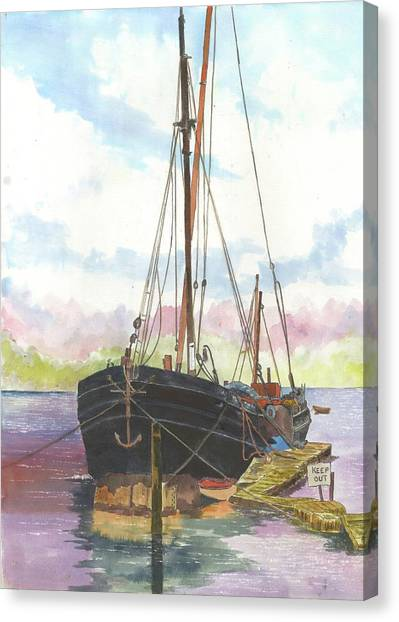 Thames Barge On Moorings Canvas Print