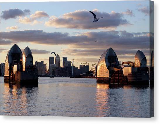 Thames Barrier And Seagulls Canvas Print