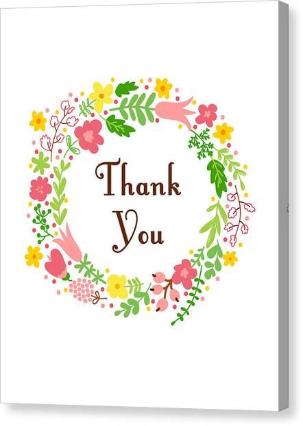 Thank Canvas Print - Thank You Card by Madame Memento