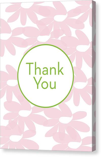 Graduation Canvas Print - Thank You Card Pink Flowers- Art By Linda Woods by Linda Woods