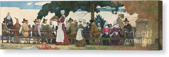 Turkey Dinner Canvas Print - Thanksgiving Banquet by Newell Convers Wyeth