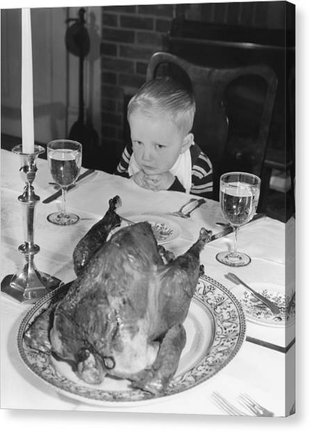 Turkey Dinner Canvas Print - Thanksgiving Dinner by American School