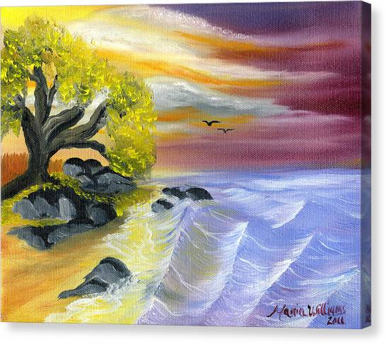 That Yellow Tree By The Sea Canvas Print by Maria Williams
