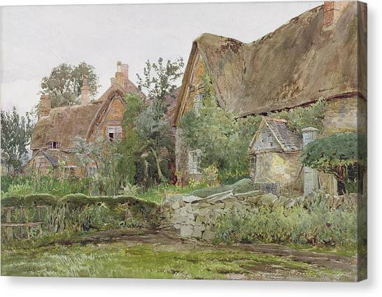 Victorian Garden Canvas Print - Thatched Cottages And Cottage Gardens by John Fulleylove