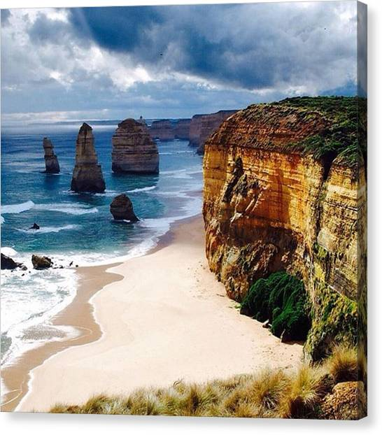Ocean Cliffs Canvas Print - The 12 Apostles At The Great Ocean Road by Peter Traveling
