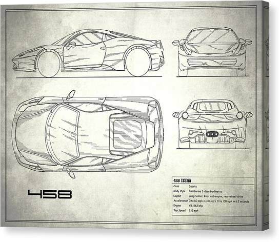 Car blueprint canvas prints page 6 of 25 fine art america car blueprint canvas print the 458 italia blueprint white by mark rogan malvernweather Gallery