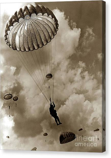 The 82nd Airborne  Hits The Silk Fort Ord 1953 Canvas Print