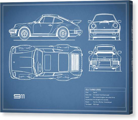 Car blueprint canvas prints fine art america car blueprint canvas print the 911 turbo blueprint by mark rogan malvernweather Choice Image