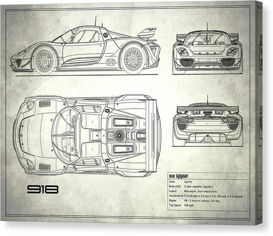 Car blueprint canvas prints page 6 of 25 fine art america car blueprint canvas print the 918 spyder blueprint white by mark rogan malvernweather Gallery