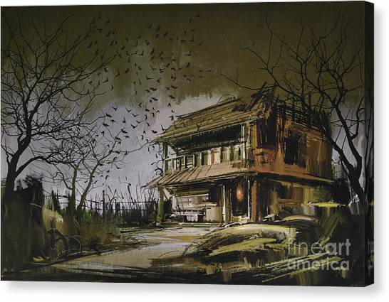 Canvas Print featuring the painting The Abandoned House by Tithi Luadthong