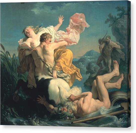 Centaurs Canvas Print - The Abduction Of Deianeira By The Centaur Nessus by Louis Jean Francois Lagrenee