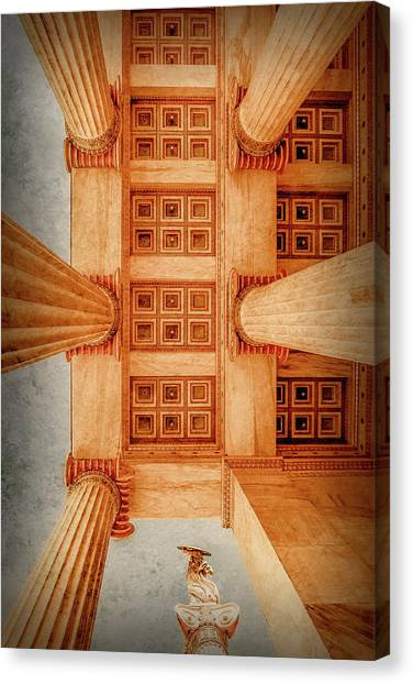 Canvas Print featuring the photograph Athens, Greece - The Academy Entry Soffit by Mark Forte