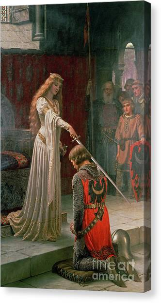 Oil On Canvas Print - The Accolade by Edmund Blair Leighton