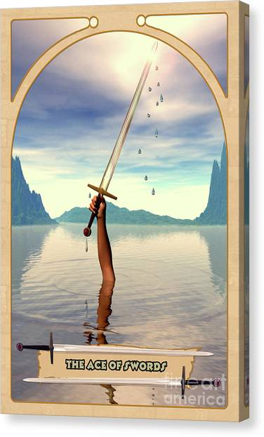 Astrology Canvas Print - The Ace Of Swords by John Edwards