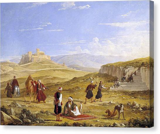 The Acropolis Canvas Print - The Acropolis And Areopagus by Franz Ludwig Catel