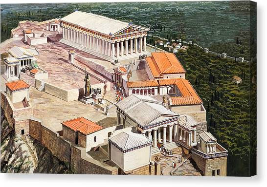 The Acropolis Canvas Print - The Acropolis And Parthenon by Roger Payne