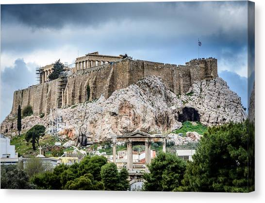 The Acropolis Canvas Print - The Acropolis - Athens Greece by Debra Martz