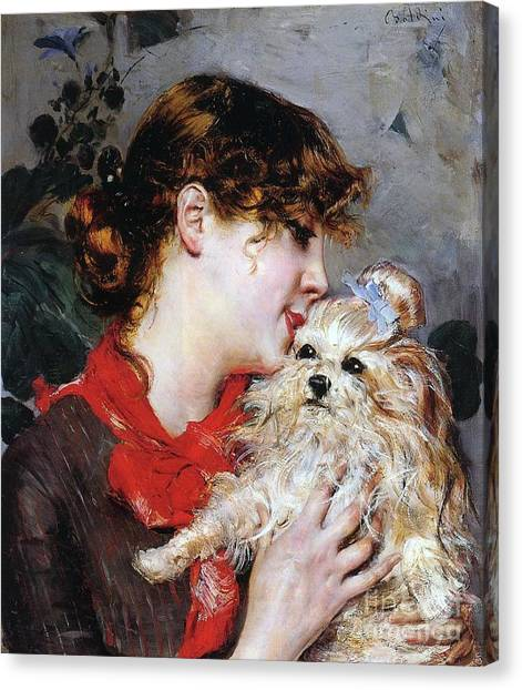 Shih Tzus Canvas Print - The Actress Rejane And Her Dog by Giovanni Boldini