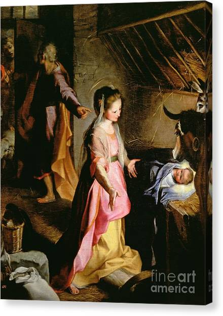 Mary Canvas Print - The Adoration Of The Child by Federico Fiori Barocci or Baroccio