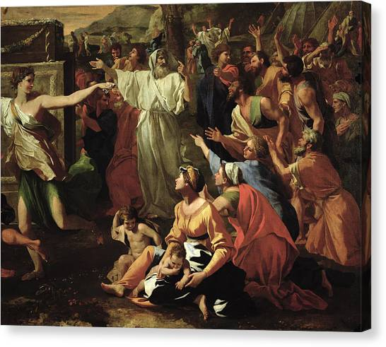Moses Canvas Print - The Adoration Of The Golden Calf by Nicolas Poussin