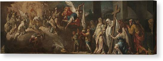 Rococo Art Canvas Print - The Adoration Of The Lamb by Gaspare Diziani