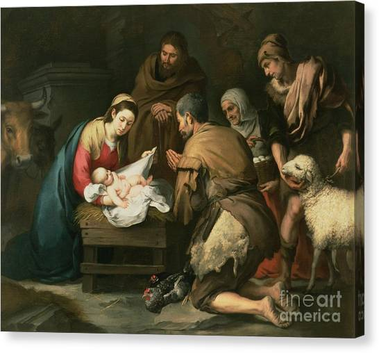 Xmas Canvas Print - The Adoration Of The Shepherds by Bartolome Esteban Murillo