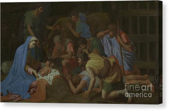 Baroque Art Canvas Print - The Adoration Of The Shepherds by Nicholas Poussin
