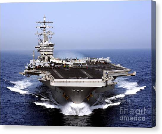 Navy Canvas Print - The Aircraft Carrier Uss Dwight D by Stocktrek Images