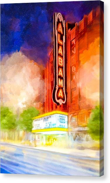 Canvas Print featuring the mixed media The Alabama Theatre By Night by Mark E Tisdale