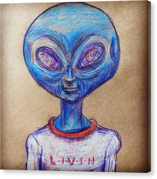 The Alien Is L-i-v-i-n Canvas Print