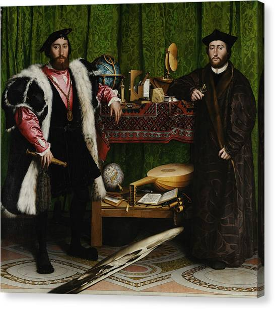 Lute Canvas Print - The Ambassadors by Hans Holbein the Younger