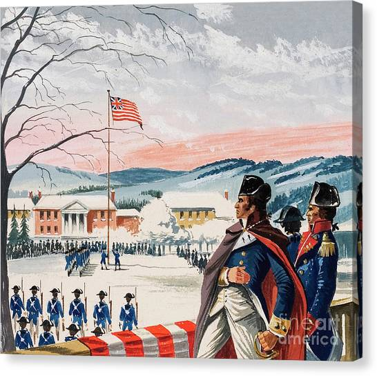 New England Revolution Canvas Print - The American Forces Besieging Boston During The War Of Independence Raised A Flag On Prospect Hill by Dan Escott