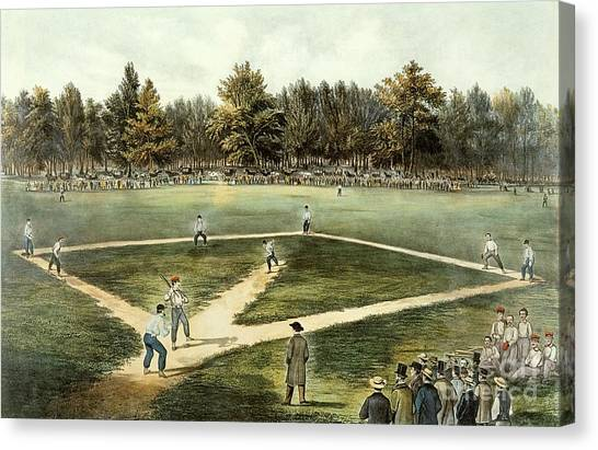 American Canvas Print - The American National Game Of Baseball Grand Match At Elysian Fields by Currier and Ives