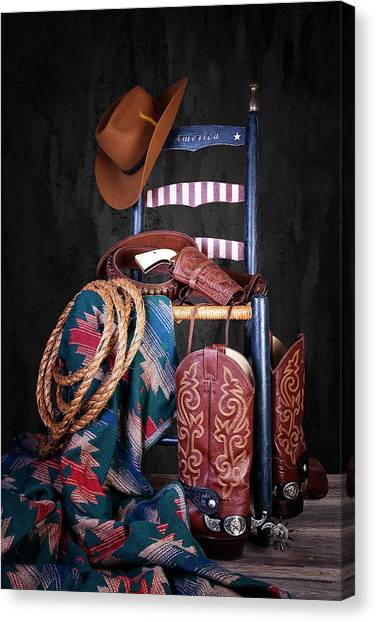 Cowboy Boots Canvas Print - The American West by Tom Mc Nemar