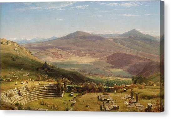 The Amphitheatre Canvas Print - The Amphitheatre Of Tusculum And Albano Mountains Rome by Worthington Whittredge