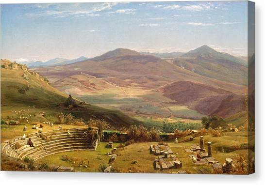 The Amphitheatre Canvas Print - The Amphitheatre Of Tusculum And Albano Mountains. Rome by Worthington Whittredge