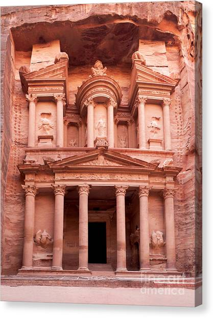 Arabian Desert Canvas Print - The Ancient Treasury Petra by Jane Rix