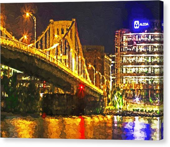 Canvas Print featuring the digital art The Andy Warhol Bridge 1 by Digital Photographic Arts