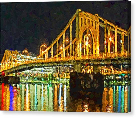Canvas Print featuring the digital art The Andy Warhol Bridge 2 by Digital Photographic Arts