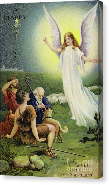 The Annunciation Canvas Print - The Angel And The Shepherds  by European School