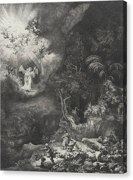 Rembrandt Canvas Print - The Angel Appearing To The Shepherds by Rembrandt