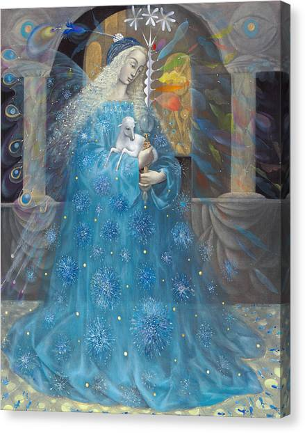 Spiritual Portrait Of Woman Canvas Print - The Angel Of Truth by Annael Anelia Pavlova