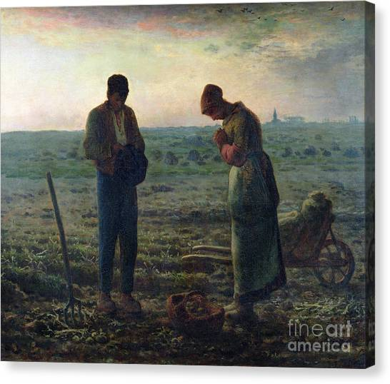 Fruit Baskets Canvas Print - The Angelus by Jean-Francois Millet