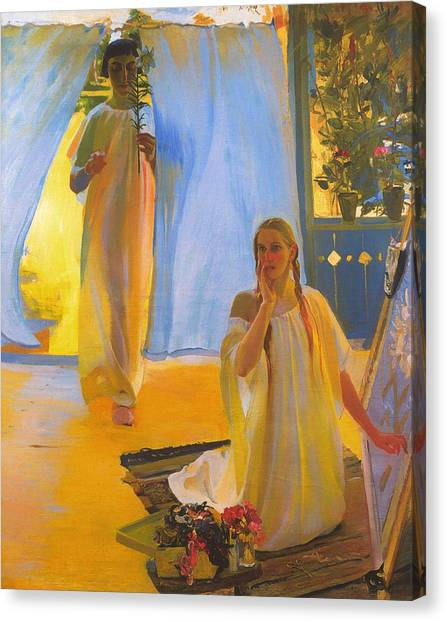 Religious Artist Canvas Print - The Annunciation by Mountain Dreams