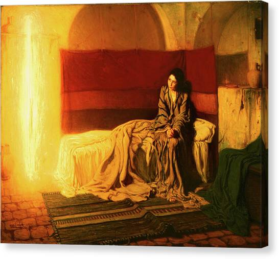 Canvas Print featuring the painting The Annunciation by Henry Ossawa Tanner