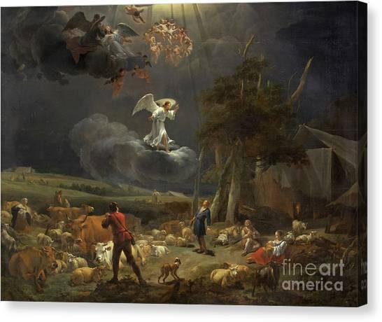 Ewe Canvas Print - The Annunciation To The Shepherds by Nicolaes Pietersz Berchem